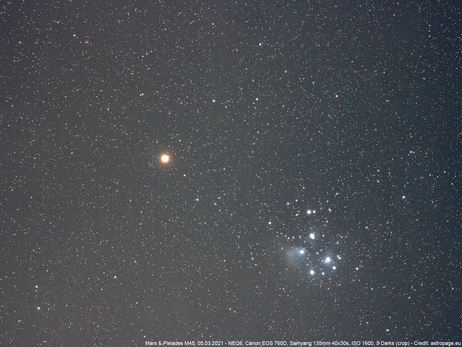 Mars & Plejaden, 05.03.2021. (Credits: astropage.eu)