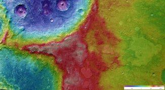 Sockelkrater auf dem Mars (ESA / DLR / FU Berlin (G. Neukum))