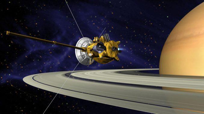 Künstlerische Darstellung von Cassini bei der Ankunft im Saturnsystem, kurz nach der Zündung ihres Haupttriebwerks. (NASA / JPL)