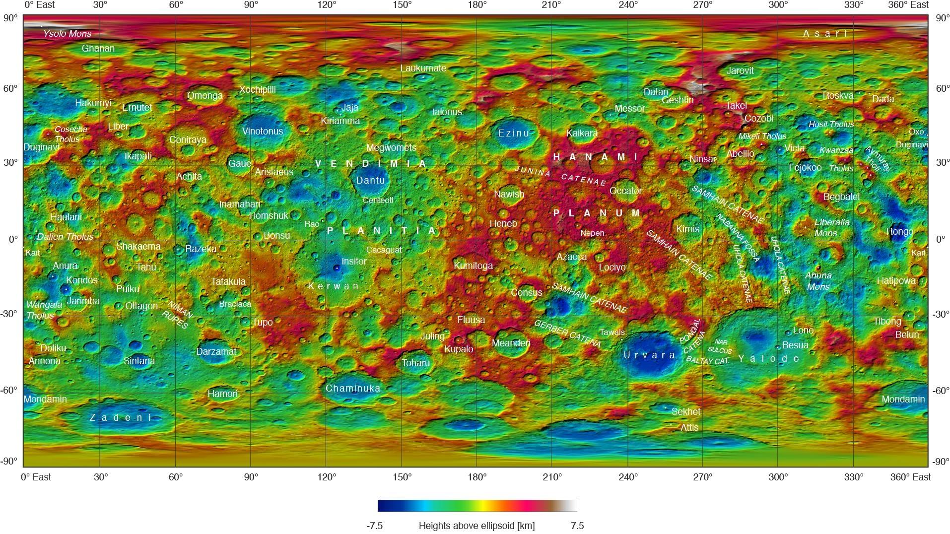 Topografische Karte von Ceres. (NASA / JPL-Caltech / UCLA / MPS / DLR / IDA)