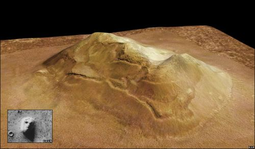 "3D-Modell des""Marsgesichts"" (Courtesy of ESA/DLR/FU Berlin / G.Neukum)"