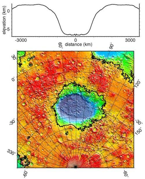 Topografische Karte von Hellas Planitia (Courtesy of NASA / JPL / GSFC)
