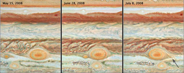 Der Große Rote Fleck verschluckt einen kleineren Wirbelsturm (Courtesy of NASA / ESA / A. Simon-Miller (Goddard Space Flight Center) / N. Chanover (New Mexico State University) / G. Orton (JPL))