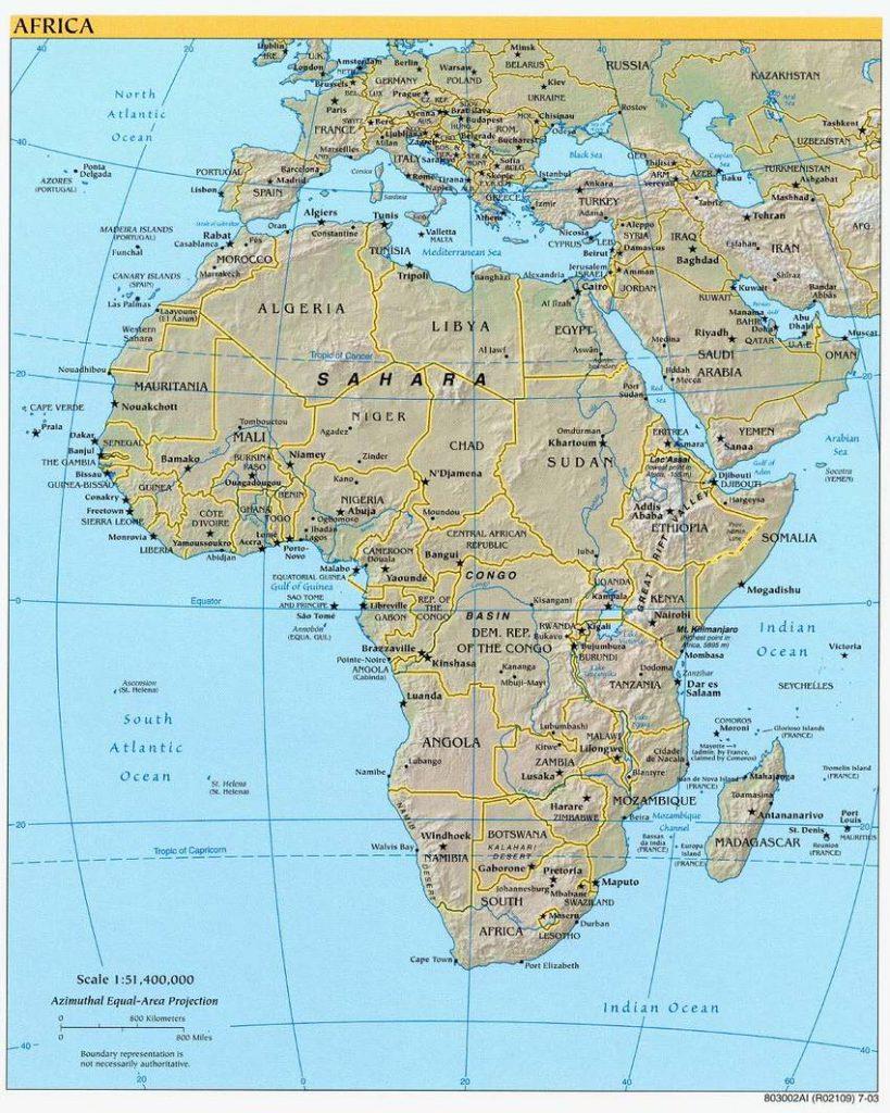 Karte von Afrika und benachbarten Staaten (Anklicken zum Vergrößern) (mapsof.net)