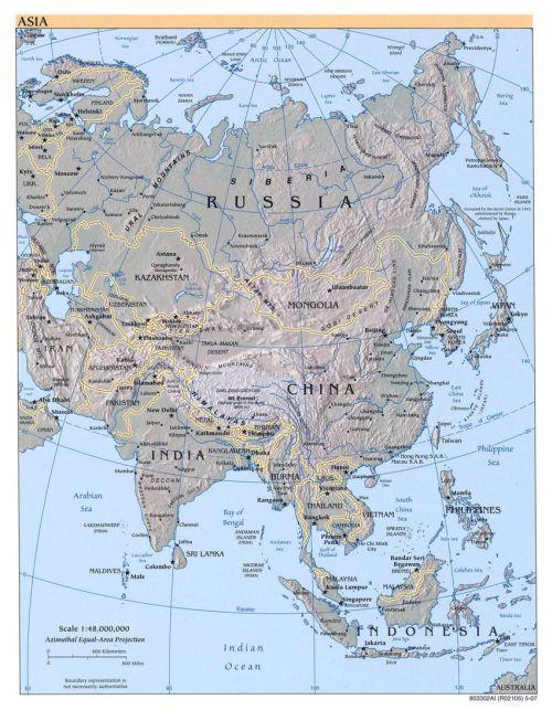 Karte von Asien und benachbarten Staaten (Anklicken zum Vergrößern) (mapsof.net)