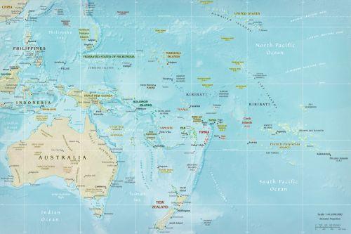 Karte von Australien und benachbarten Staaten (Anklicken zum Vergrößern) (mapsof.net)