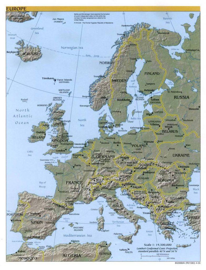 Karte von Europa und benachbarten Staaten (Anklicken zum Vergrößern) (mapsof.net)