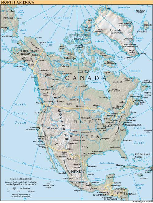 Karte von Nordamerika und benachbarten Staaten (Anklicken zum Vergrößern) (mapsof.net)