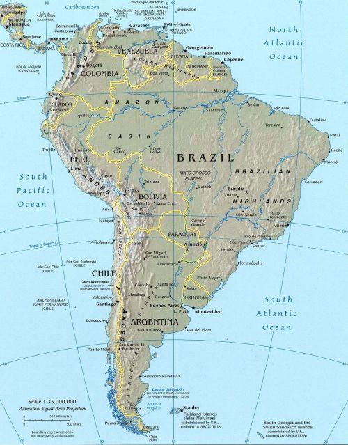 Karte von Südamerika und benachbarten Staaten (Anklicken zum Vergrößern) (mapsof.net)