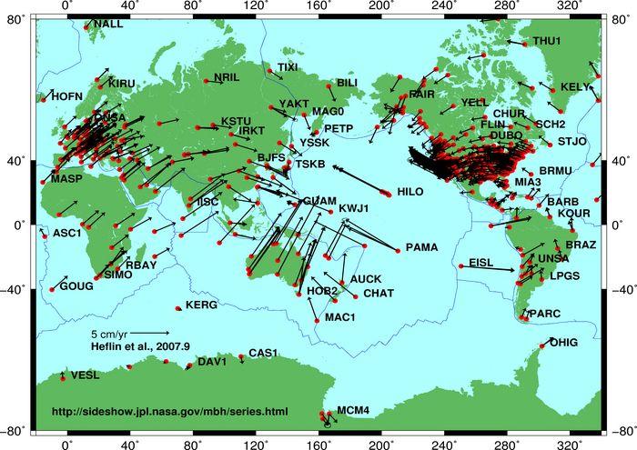 Richtung und Größe kontinentaler Driftbewegungen (Courtesy of NASA / JPL)
