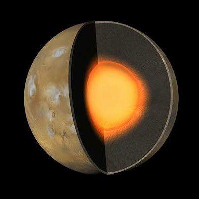 Vermuteter Aufbau des Mars (Courtesy of NASA / JPL / Caltech)