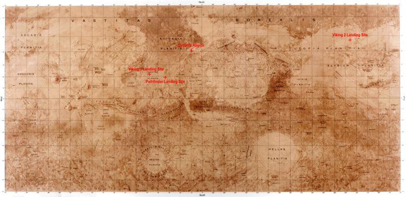 Die Großlandschaften auf dem Mars (Anklicken zum Vergrößern - Courtesy of NASA)