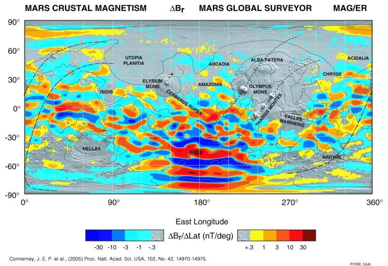 Lokale Magnetisierung des Krustengesteins auf dem Mars (Courtesy of NASA)
