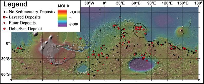 Diese Karte zeigt die Standorte von 226 potenziellen Seen in der Frühzeit des Mars. (Goudge, T.A., Head, J.W., Mustard, J.F. and Fassett, C.I. / MOLA / NASA)