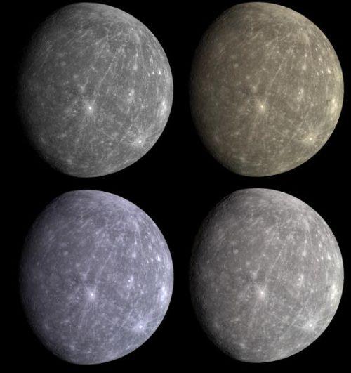 """Diese Zusammenstellung verdeutlicht die Schwierigkeit, den Planeten in seinen """"natürlichen"""" Farben abzulichten. (Courtesy of NASA/Johns Hopkins University Applied Physics Laboratory/Carnegie Institution of Washington)"""