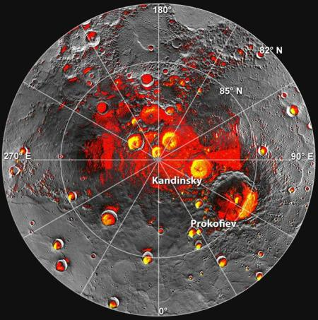 Krater in der Nordpolarregion Merkurs, die offenbar permanent im Schatten liegen. (NASA / Johns Hopkins University Applied Physics Laboratory / Carnegie Institution of Washington / National Astronomy and Ionosphere Center, Arecibo Observatory)
