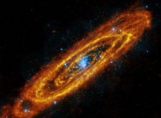Die Andromeda-Galaxie auf Basis von Daten der Weltraumteleskope Herschel und XMM-Newton. (ESA Herschel, XMM-Newton)