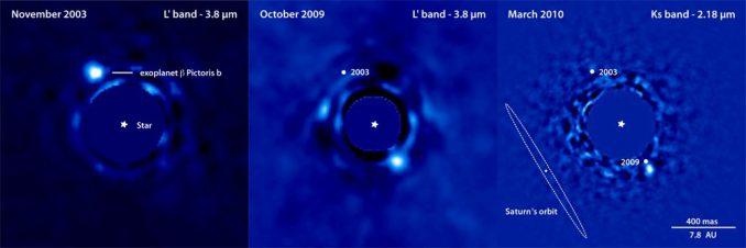 VLT-Aufnahmen des Sternsystems Beta Pictoris. (Image courtesy of Astronomy & Astrophysics)