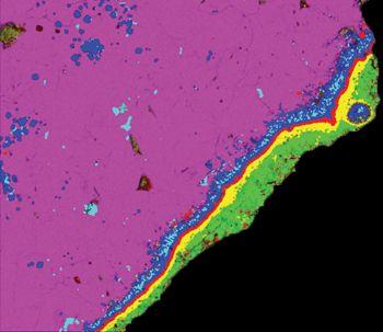 Calcium-aluminiumreiche Einschlüsse in einem Meteoriten. (Justin Simon/NASA)