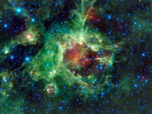 Die Sternentstehungsregion SH2-284. (NASA/JPL-Caltech/UCLA)