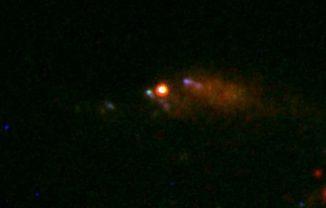 Hubble-Aufnahme des Gammasblitzes GRB 100316D und der Supernova SN 2010bh. (A. Levan/D. Bersier)