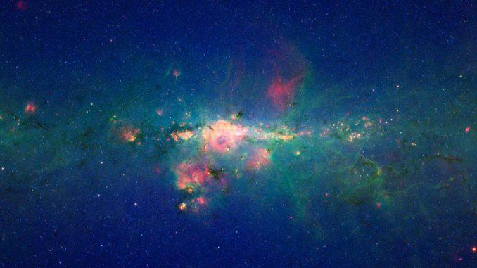 Das Zentrum der Milchstraßen-Galaxie. (NASA/JPL-Caltech)