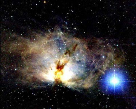 Infrarotaufnahme des Flammennebels. (2MASS, UMass, and IPAC)