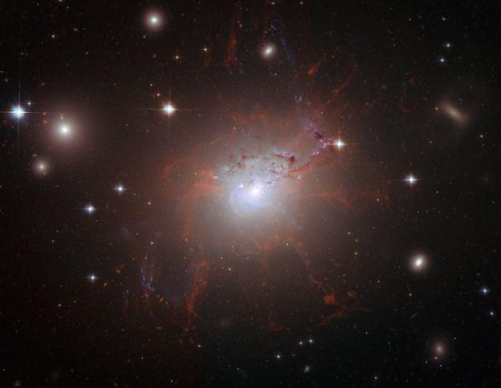 Hubble-Aufnahme von NGC 1275, der zentralen Galaxie des Perseus Clusters (STScI / AURA) - ESA / Hubble Collaboration)