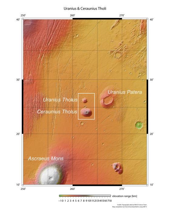 Umgebung von Ceraunius Tholus und Uranius Tholus (ESA/DLR/FU Berlin (G. Neukum))