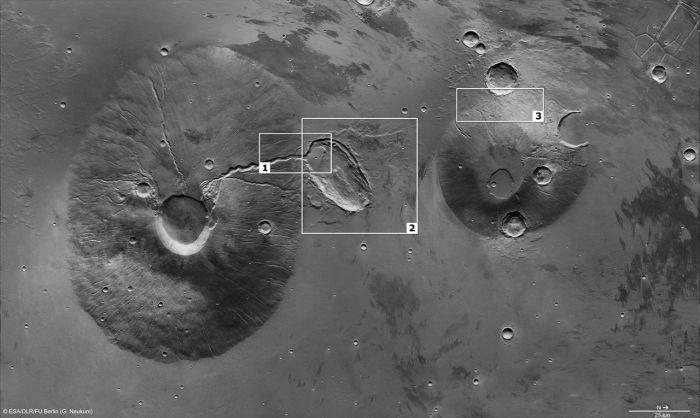 Strukturen um Ceraunius Tholus und Uranius Tholus (ESA/DLR/FU Berlin (G. Neukum))