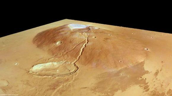 Perspektivische Ansicht von Ceraunius Tholus (ESA/DLR/FU Berlin (G. Neukum))