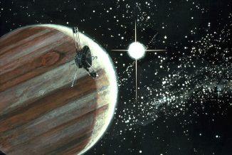 Künstlerische Darstellung der Sonde Pioneer 10 vor Jupiter (NASA Ames Resarch Center (NASA-ARC))