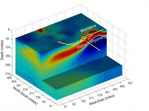 Darstellung der Yellowstone-Plume auf Basis der elektrischen Leitfähigkeit des geschmolzenen Gesteins (University of Utah)