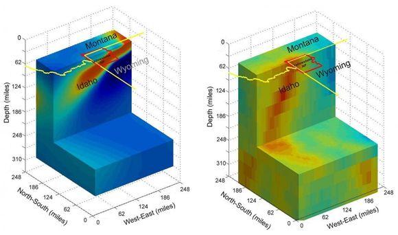 Vergleich zwischen geoelektrischem Bild (links) und seismischem Bild (rechts) (University of Utah)