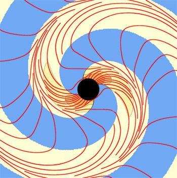 Zwei spiralförmige Vortexe (gelb) aus gekrümmtem Raum, und die Vortexlinien (rot) (The Caltech/Cornell SXS Collaboration)