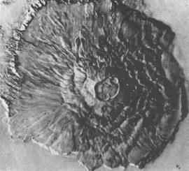 Der fast 27 Kilometer hohe Marsvulkan Olympus Mons (JPL/NASA)