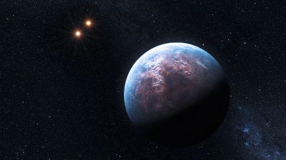 Illustration von Gliese 667, einem Binärsystem, in dem ein Exoplanet entdeckt wurde (ESO/L. Calçada)