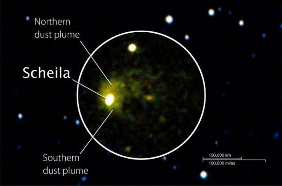 Komposit aus UVOT-Daten (Kreis) und Aufnahmen des Sky Survey (NASA/Swift/DSS/D. Bodewits (UMD))