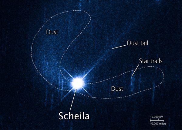Das Hubble Space Telescope fotografierte (596) Scheila am 27. Dezember 2010, als der Asteroid etwa 350 Millionen Kilometer entfernt war. Scheila ist in dieser Aufnahme überbelichtet, um die schwachen Staubwolken zu enthüllen. Der Asteroid ist von einer C-förmigen Staubwolke umgeben und zeigt einen geraden Staubschweif im sichtbaren Licht. (NASA/ESA/D. Jewitt (UCLA))