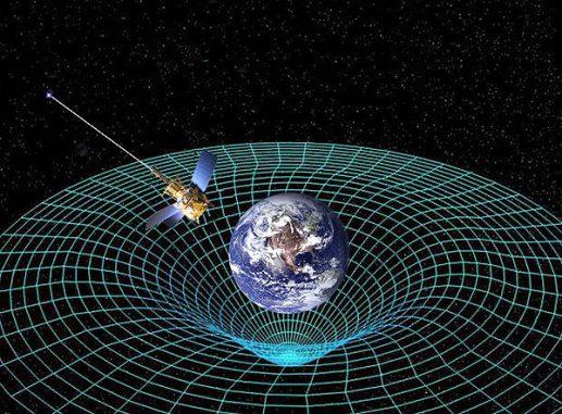 Künstlerische Darstellung der Gravity Probe B im Erdorbit (NASA)
