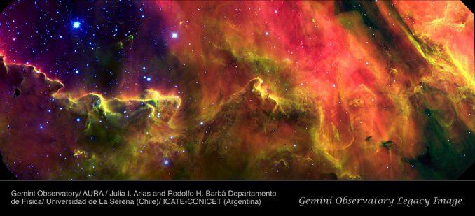 Stellare Kinderstube im Lagunennebel (Julia I. Arias and Rodolfo H. Barbá Departamento de Física, Universidad de La Serena (Chile), and ICATE-CONICET (Argentina))