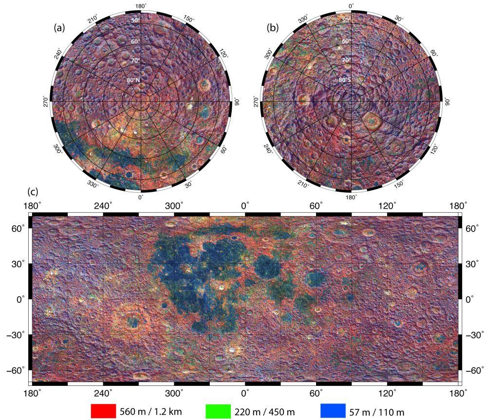 Die Farben in dieser Aufnahme geben Informationen über die Abhänge und Rauheit (Schroffheit) der Mondoberfläche preis. Die Rauheit ist abhängig von dem zur Messung ausgewählten räumlichen Maßstab. Hier zeigt der rote Kanal Abhänge im größten Maßstab (0,5 Kilometer), grün dazwischen und blau im kleinsten Maßstab (ungefähr 50 Meter). (Journal of Geophysical Research (2011))