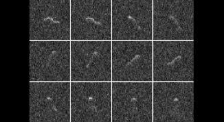12 Radarbilder des Kometenkerns von Hartley 2, aufgenommen mit dem Planetary Radar am Arecibo Observatory (NAIC-Arecibo/Harmon-Nolan)