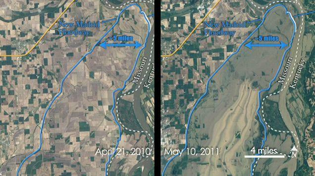 Standbild aus dem Video, das das Ausmaß der Überflutungen zeigt (NASA/Matt Radcliff)