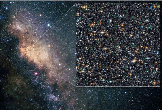 Das Hubble-Teleskop entdeckte Blaue Nachzügler in der zentralen Ausbuchtung der Milchstraße (NASA, ESA, W. Clarkson (Indiana University and UCLA), and K. Sahu (STScl))