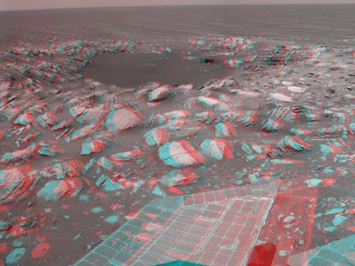 """Der relativ junge Krater """"Skylab"""" in 3-D (NASA/JPL-Caltech)"""