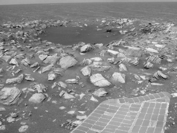 Aufnahme des Kraters Skylab mit der Navigationskamera von Opportunity (NASA/JPL-Caltech)