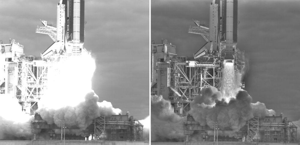 Fotovergleich zwischen der 1-Kamera-Perspektive (links) und den digital bearbeiteten Aufnahmen der fünf anderen Kameras (rechts) (NASA / Louise Walker / J.T. Heineck)