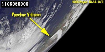 GOES-11 Satellitenbild der Aschewolke (NASA/NOAA GOES Project, Dennis Chesters)