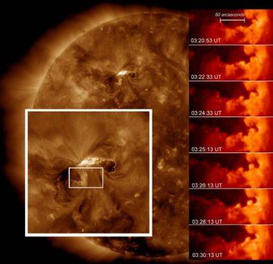 """""""Surf""""-Wellen auf der Sonne (NASA / SDO / Astrophysical Journal Letters)"""